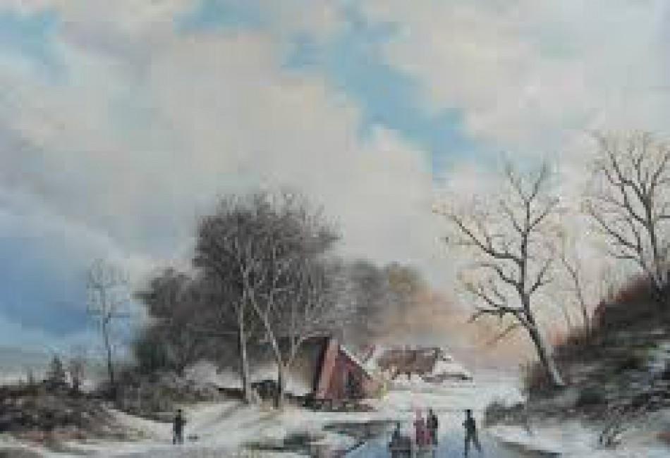 Landschap met schaatsers