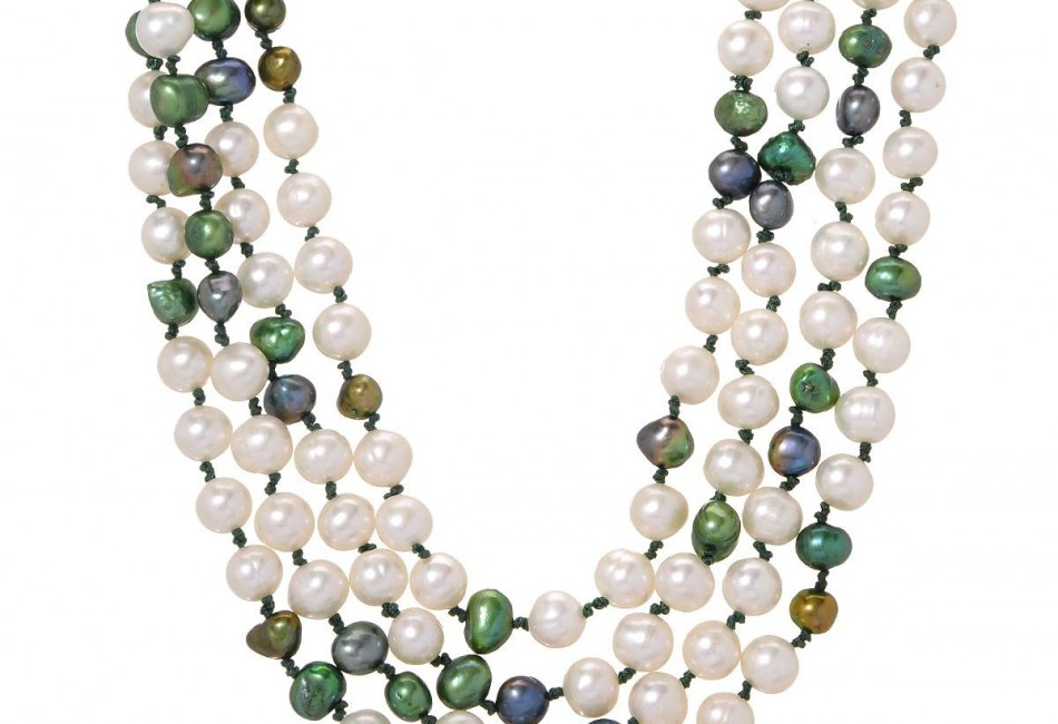 Brand New Necklace With Genuine mayvarymm Freshwater Pearls Green Silk