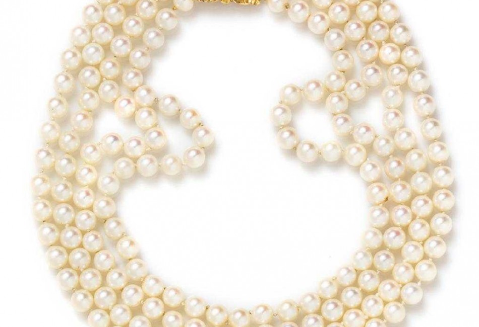 An 18 Karat Yellow Gold, Diamond and Cultured Pearl