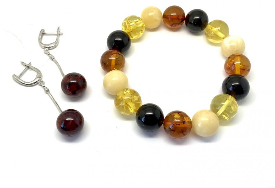 Baltic amber set bracelet silver earrings