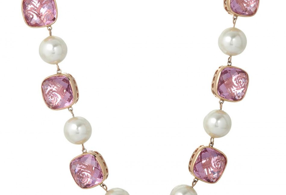 Brand New Necklace With Crystals and Faux pearls Rose Base metal