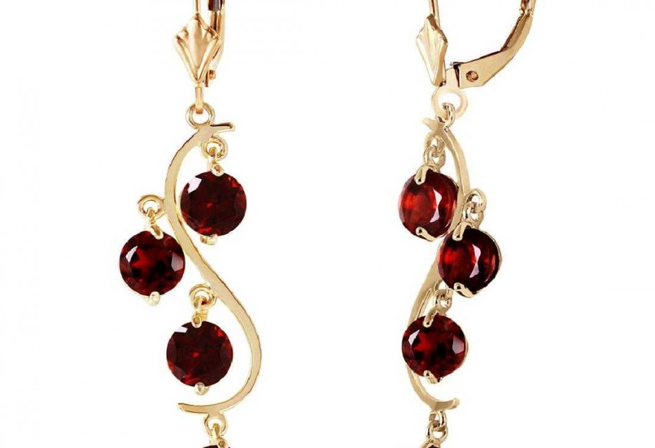 4.95 Carat 14K Solid Gold Grape Garnet Earrings