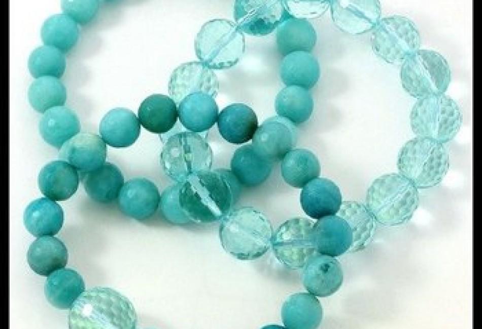 Genuine Blue Quartz and Cristal Set Of Three Bracelets